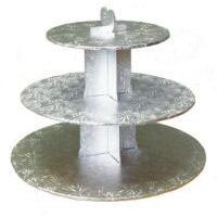 Silver Cardboard Cupcake Stand 3 Tier